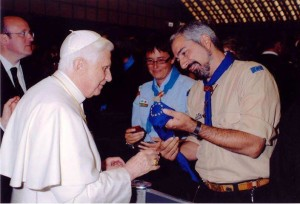 Pope Benedict XVI receiving the neckerchief of the FSE